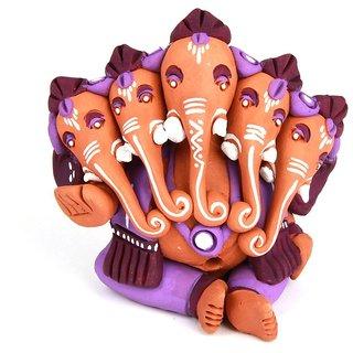 The Nodding Head Terracotta - Handpainted Panchamukhi Ganesha