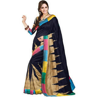 Ambaji Gold & Blue Linen Printed Saree With Blouse