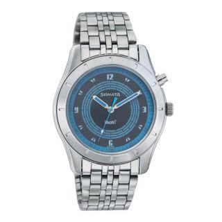 Sonata Quartz Blue Round Men Watch 7067SM04
