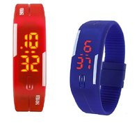 Combo Of Two Band Watches For Men Blue  Red