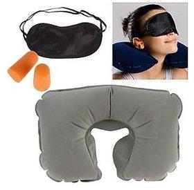 3 In 1 Travel Set - (Neck Pillow, Eye Mask  Ear Plug)