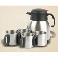1 Kettle  4 double wall mugs ,Designer Tea set