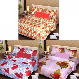 Akash Ganga Beautiful Combo of 3 Double Bedsheets with 6 Pillow Covers (AGK1196)