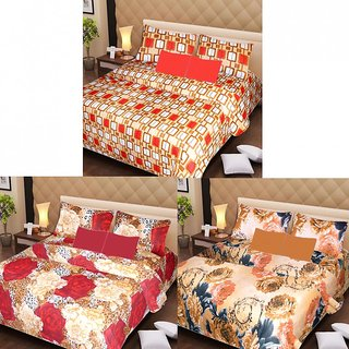 Akash Ganga Beautiful Combo of 3 Double Bedsheets with 6 Pillow Covers (AGK1199)