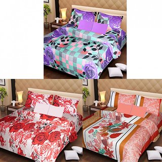 Akash Ganga Beautiful Combo of 3 Double Bedsheets with 6 Pillow Covers (AGK1201)