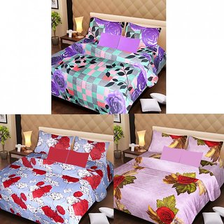 Akash Ganga Beautiful Combo of 3 Double Bedsheets with 6 Pillow Covers (AGK1203)