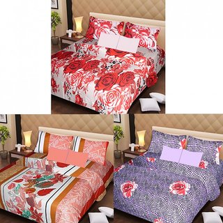 Akash Ganga Beautiful Combo of 3 Double Bedsheets with 6 Pillow Covers (AGK1208)