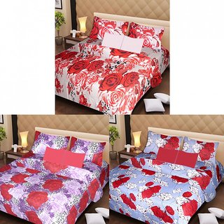 Akash Ganga Beautiful Combo of 3 Double Bedsheets with 6 Pillow Covers (AGK1209)