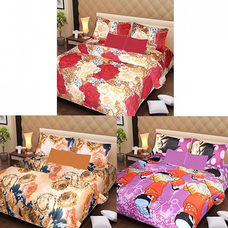 Akash Ganga Beautiful Combo of 3 Double Bedsheets with 6 Pillow Covers (AGK1221)