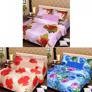 Akash Ganga Beautiful Combo of 3 Double Bedsheets with 6 Pillow Covers (AGK1228)