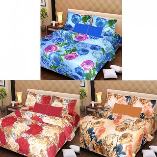 Akash Ganga Beautiful Combo of 3 Double Bedsheets with 6 Pillow Covers (AGK1231)