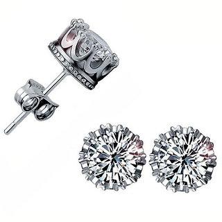 925 Sterling Silver AAA Swisss Zircon Stud Crown Earrings New 2015 Design