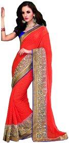 Sudarshan Silks Orange Chanderi Self Design Saree With Blouse