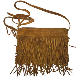 Ladies Leather Sling bag with Fringes in Brown Colour: Buy Ladies ...