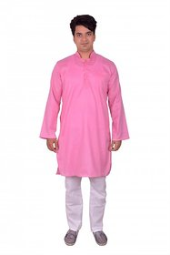 Arzzan Creations Hot pink kurta with White Payjama for men