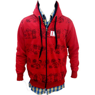 ruby red cotton blend printed soft jacket.