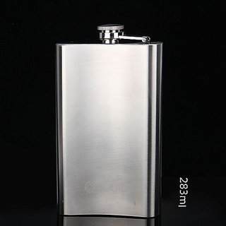 UNIQUE- STAINLESS STEEL 9 0Z LIQUOR ALCOHOL HIP FLASK - FOR WHISKY OR WINES