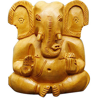 Hand Carved Lord Ganesha Statues Made From Wood