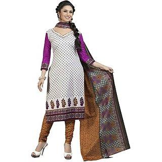 Tangerines Multi Color Designer Unstitched Cotton Salwar Kameez Dress Material
