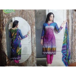 Dulhan Saree Suit Ethnic Wear Cotton Multi Color Long Suit
