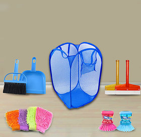 Blue Combo Of Mini Dustpan With Brush,Net Laundry,Wiper,Gloves,Liquid Soap Dispenser