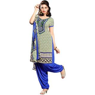 Varanga Blue And Green Cotton Batik Print Salwar Suit Dress Material (Unstitched)