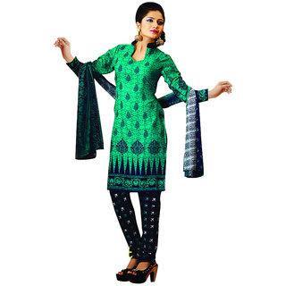 Varanga Black And Green Cotton Batik Print Salwar Suit Dress Material (Unstitched)
