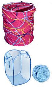 Fantasy Red,Sky Blue  Nylon Laundry Bag (Pack Of 2)
