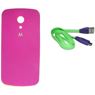 Back Panel cover for Motorola Moto G with free data cable green