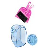 Pink Plastic Combo Of Foldable Laundry Bag ,Mini Dustpan With Brush