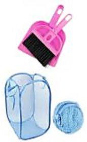 Pink Plastic Combo Of Foldable Laundry Bag ,Mini Dustpan With Brush