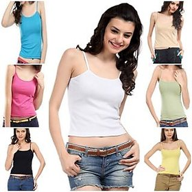 Pack of 7 Cotton Camisole slip Spaghetti Tshirt Top