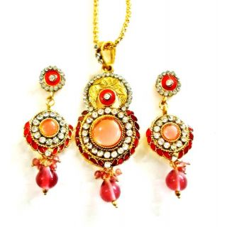Exclusive Designer Pink Pendant Set