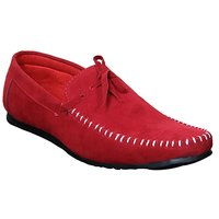 Sukun Mens Red Loafers