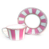 HI LUXE STRIPLE PINK CUP AND SAUCER  SET OF 6 PCS