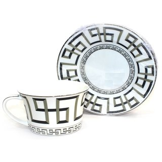 HI-LUXE STRIPLE BLACK CUP AND SAUCER (SET OF 6 PCS)