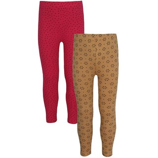 Jazzup Cream & Pink Color Cotton Lycra Pack Of 2 Printed Girls Leggings-(KZ-MKLC1254)