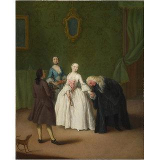 Vitalwalls Nobleman kissing a Ladys Hand Canvas Art Print (Figure-016-60cm)