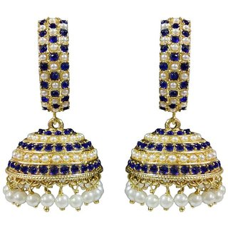 Kyria Royal Blue & Gold Pearl Alloy Jhumki