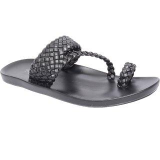 Shoooz Black Color Stylish Mens Slipper (Size-2)