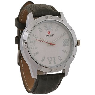 Evelyn Round Dial Black Leather Strap Quartz Watch For Men