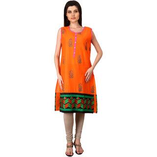 Free Living Phenomenal Women 100Cotton Orange Kurti