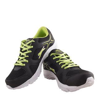 Slazenger Mens Black,Green Lace-up Running Shoes