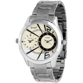 Evelyn Round Dial Silver Metal Strap Quartz Watch For Men