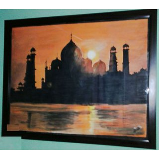 Handmade Oil Painting Of Taj Mahal