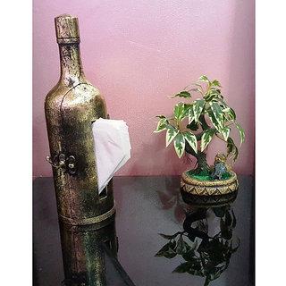 Onlineshoppee Wooden Handicraft Hand Made Bottle Tissue Paper Holder, Decorative