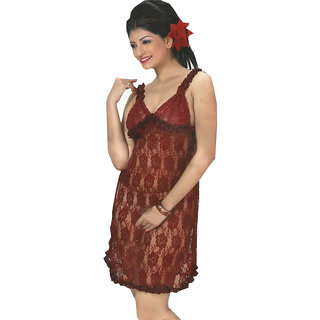Buy Transparent Net See Through Maroon nighty Online - Get 23% Off 964d79e88