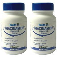 Healthvit Niacinamide (Vitamin B-3) 500Mg 60 Capsules (Pack Of 2)