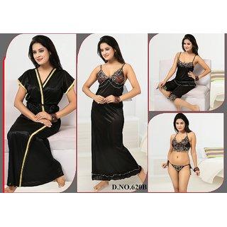 Womens Sleep Wear Set 6pc Bra Panty Top Capri Nighty  Over Coat 620 Black Bed