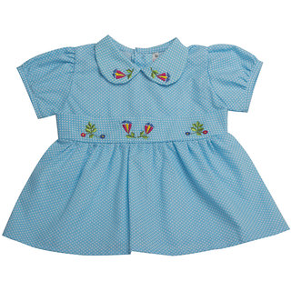 VedVid Soft FabricBeautiful Trendy Dots Frock For New Born NBGFD-TQ